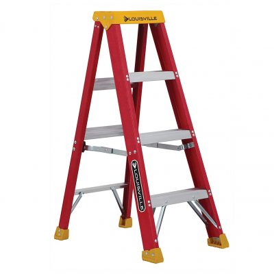 Fiberglass step ladder with aluminum feet. Product has 3 steps and is orange in color.