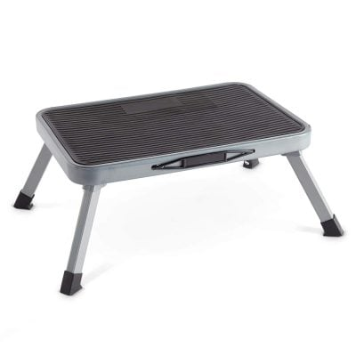 Small, one-step step stool made out of steel.