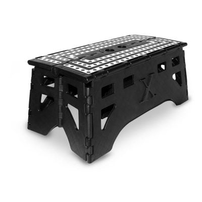 Plastic, heavy duty step stool. Silver top and black body color.