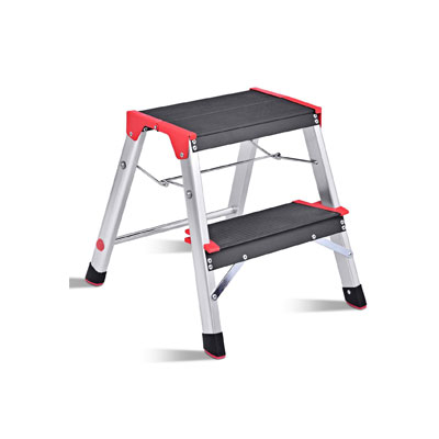 Aluminum step stool that has non-slip steps.