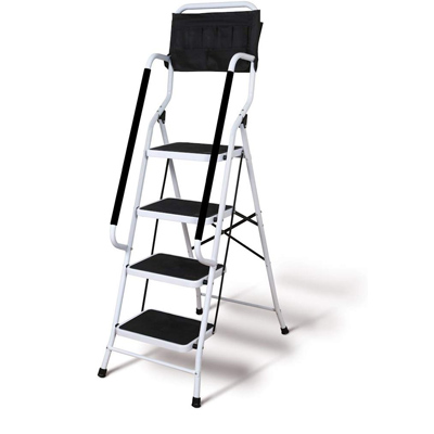 Wide step step ladder. Large steps to maximize safety.