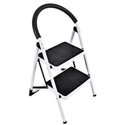 2-step, wide step, step ladder. Ladder is white and black. Material is steel with plastic covers.