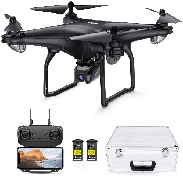 Product Image of Drone and its associated case, battery, and handset control.