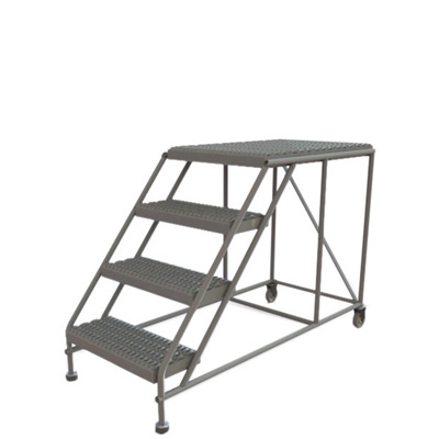 Little Giant industrial step ladder. Foldable and has 4 steps with a 35-inch reach.